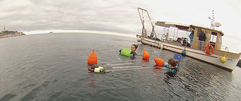 Researchers at work in the ocean